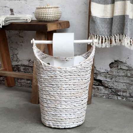 White Woven Loo Roll Holder