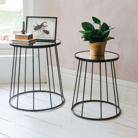 Set of Two Mirror Glass Tables