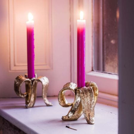 Gold Banana Candle Holder
