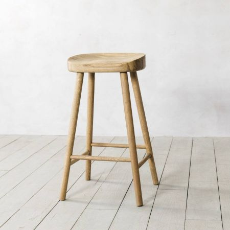 Low Oak Farmhouse Stool