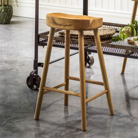 Oak Farmhouse Island Stool