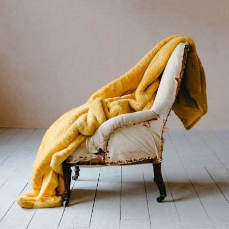 Golden Yellow Faux Fur Throw