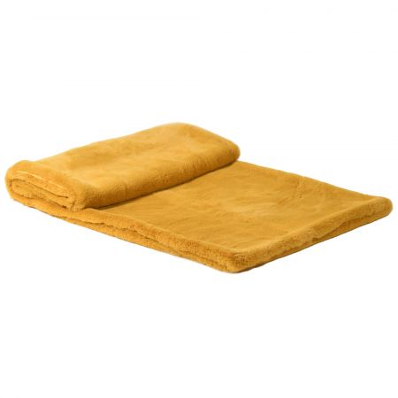Golden Yellow Faux Fur Throw
