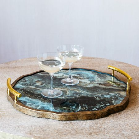 Marble Effect Tray with Handles