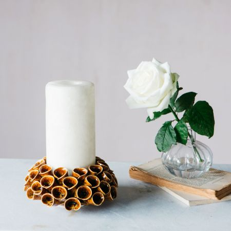 Brown Funnel Candle Holder