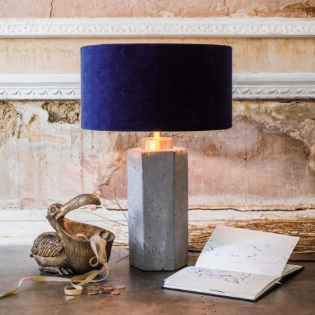 Concrete and Brass Hexagon Table Lamp - Thumbnail