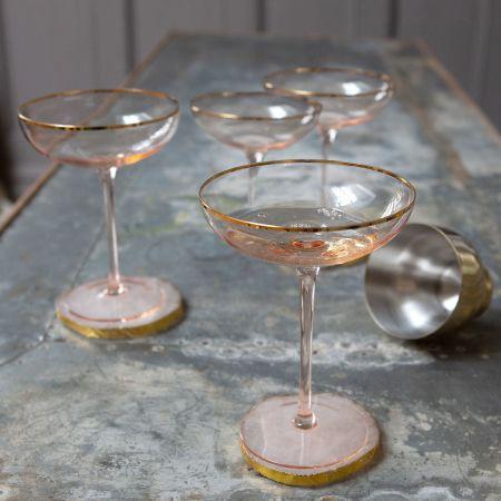 Set of Four Gold Rim Cocktail Glasses