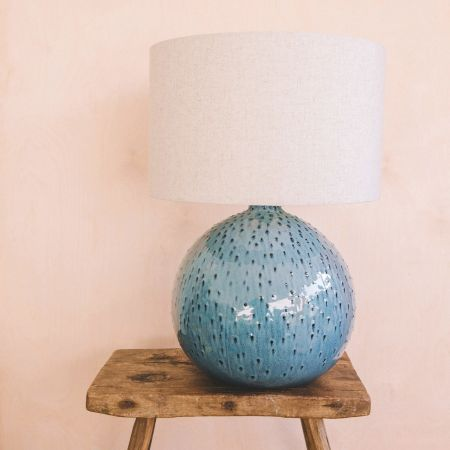 Blue Dot Ceramic Lamp with Shade