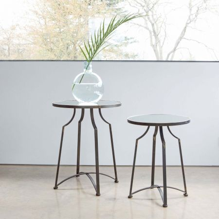 Set of Two Mirrored Top Side Tables