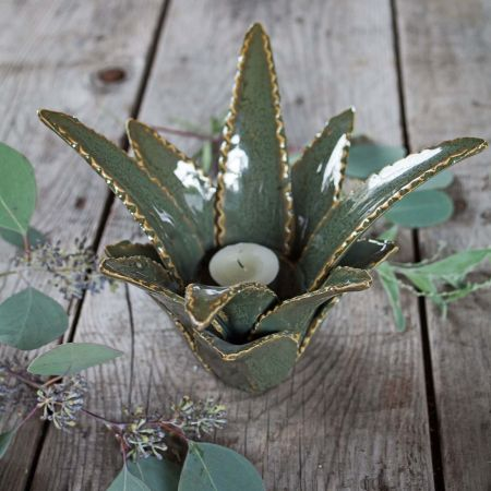 Aloe Vera Ceramic Candle Holder - Thumbnail