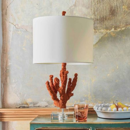 Faux Coral Table Lamp with Linen Shade