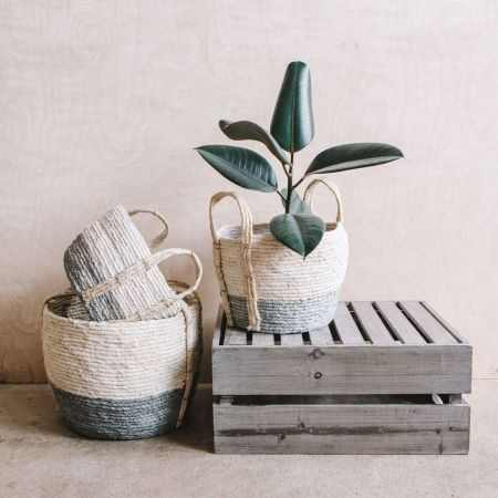 Set of Three Grey and White Seagrass Baskets