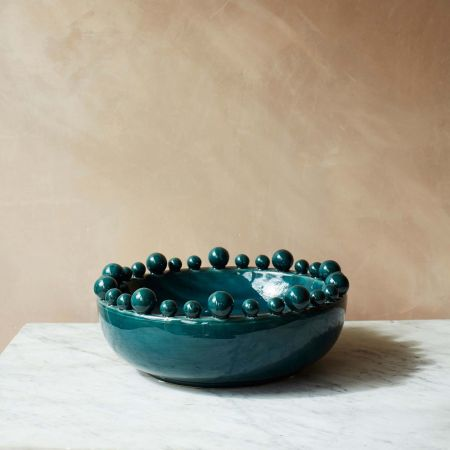 Teal Ceramic Splash Bowl