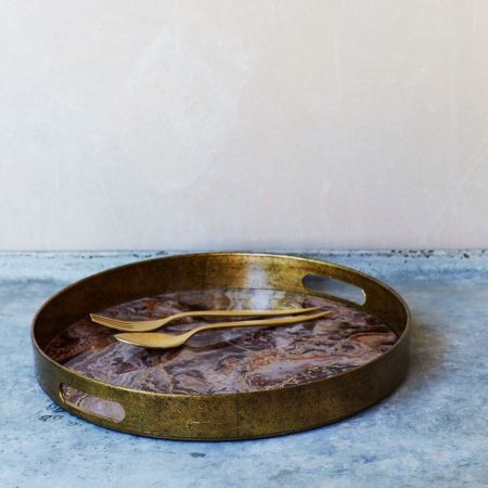 Round Marble Effect Tray