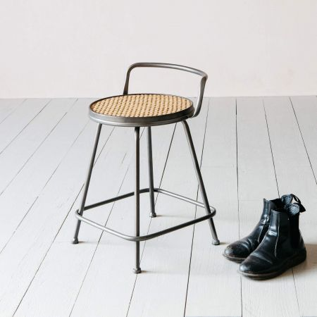 Iver Iron and Rattan Stool