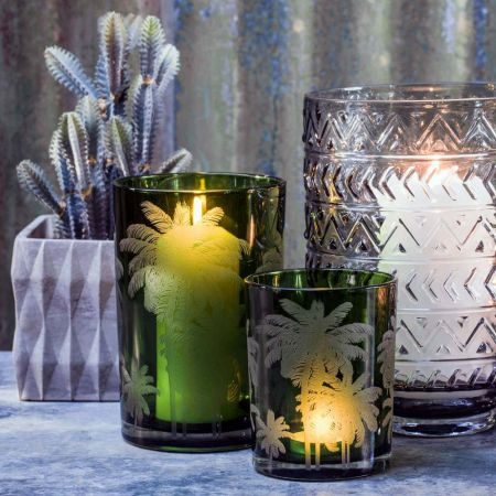Green Palm Tree Tea Light Holders