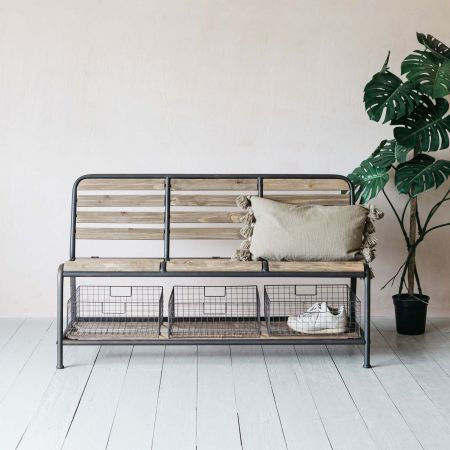 Wooden Bench with Baskets