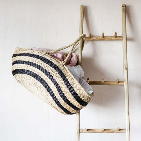 Black and Natural Seagrass Basket