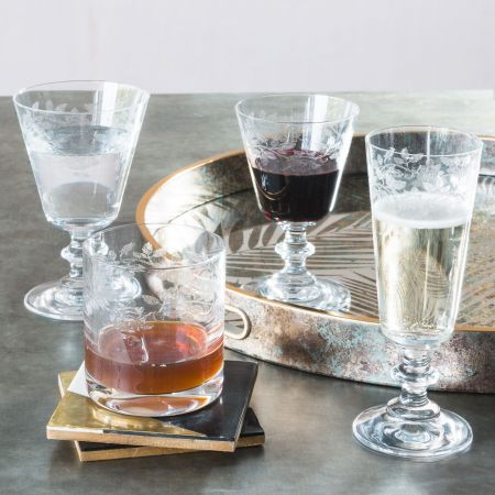 Engraved Roses Glassware
