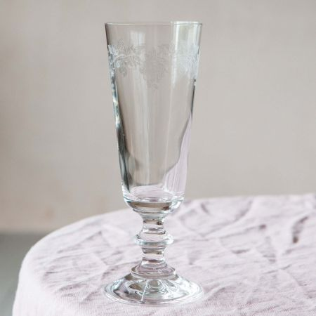 Engraved Roses Champagne Glass