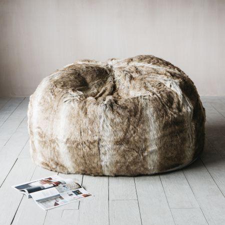 Striped Faux Fur Beanbag