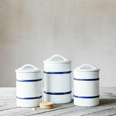 Set of Three Striped Jars