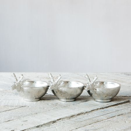 Set of Three Stag Deer Dishes