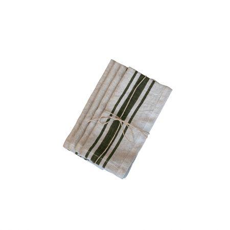 Set of Four Green Stripe Linen Napkins