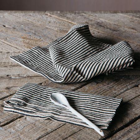 Set of Four Pinstripe Linen Napkins