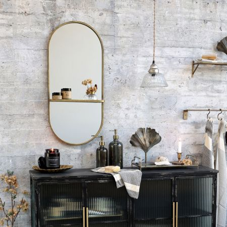 Antique Brass Oval Mirror with Shelf