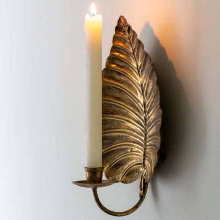 Copper Leaf Candle Wall Sconce