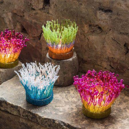 Coral Beaded Tea Light Holders
