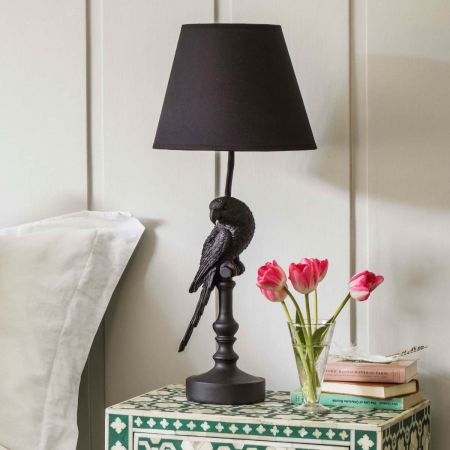 Black Parrot Lamp With Shade