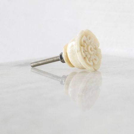 Carved Rose Bone Drawer Knob - Thumbnail