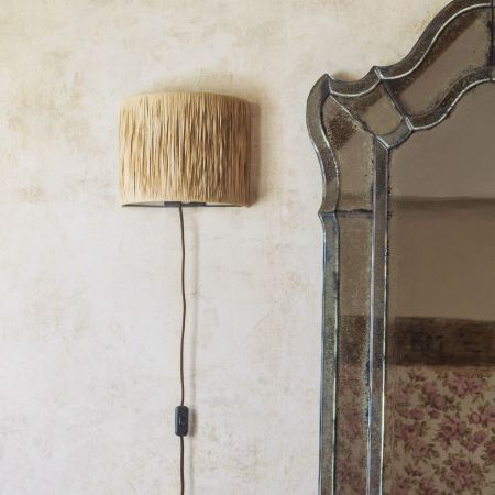 Raffia and Metal Wall Light