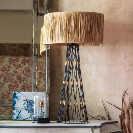 Metal Table Lamp with Raffia Shade