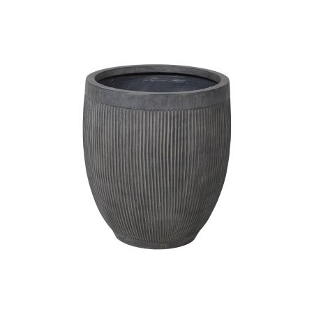 Grey Ribbed Planter