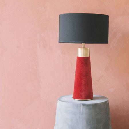 Montana Red Velvet Table Lamp