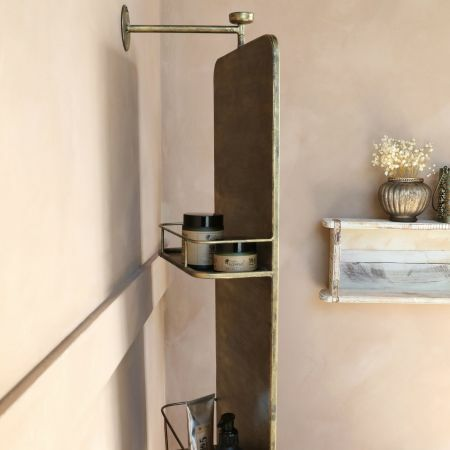 Antique Brass Mirror with Shelves