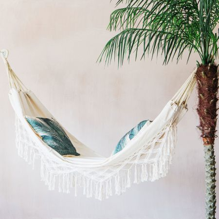 Cream Fringed Hammock