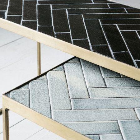 Gustav Set of Two Ceramic Top Tables