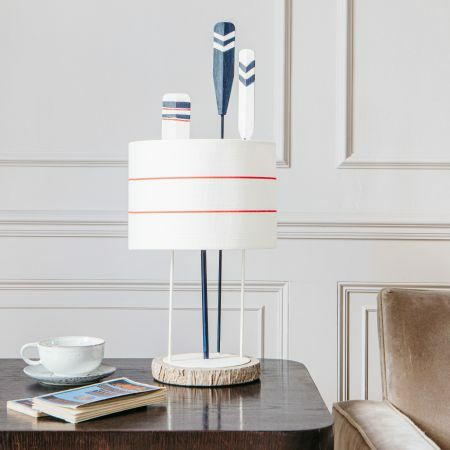Striped Paddle Lamp with shade