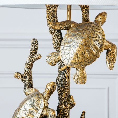 Golden Turtles Lamp With Shade