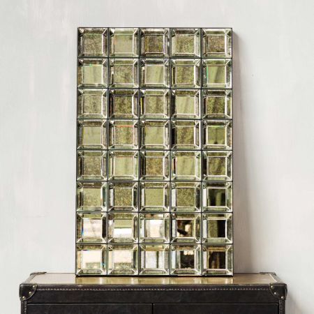 Antiqued Squares Mirror