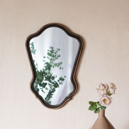 Antiqued Black and Gold Mirror