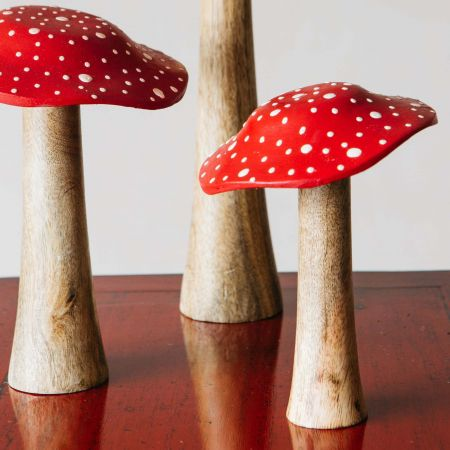 Set of Three Wooden Toadstools