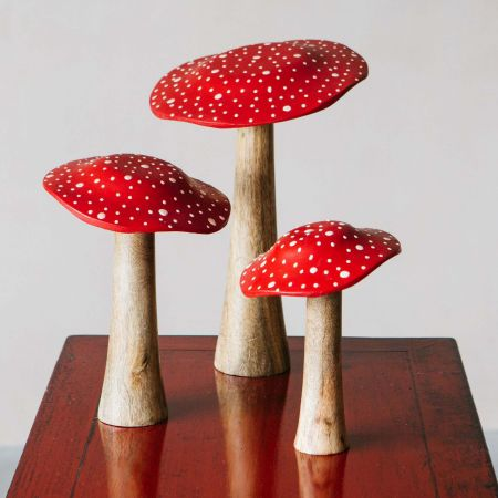 Set of 3 Wooden Toadstools