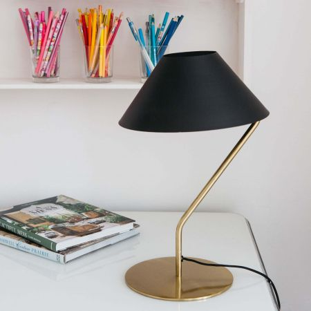 Luca Brass Lamp with Black Shade