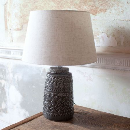 Embossed Ceramic Lamp with Shade - Thumbnail