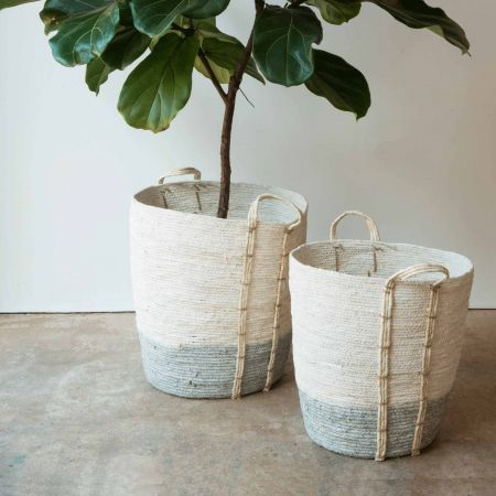 Set of Two Tall Grey and White Baskets
